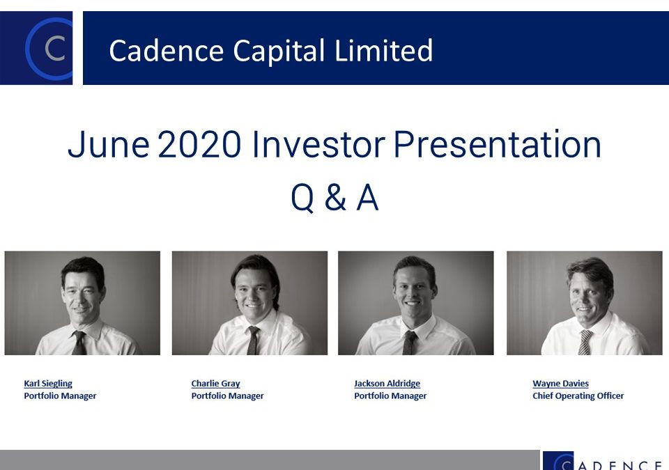 CDM June 2020 Investor Presentation Q & A Session